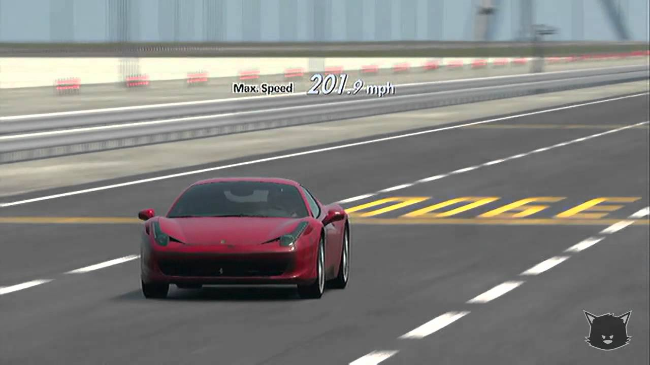 Gt5 ferrari 458 italia top speed stock youtube gt5 ferrari 458 italia top speed stock vanachro Images
