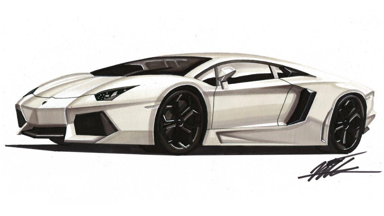 Realistic Car Drawing Lamborghini Aventador Lp700 4 Time Lapse