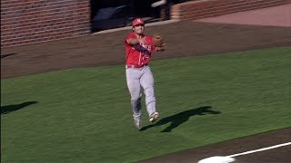 UL Lafayette 3B Brenn Conrad Throws from Foul Territory for the Out