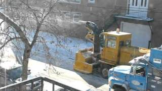 Montreal Snow Removal Operation In Lachine Old Snow Blower And Dump Trucks