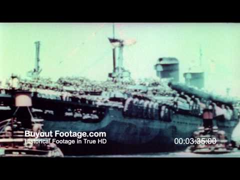 HD Stock Footage WWII Troops Homecoming End of War Color