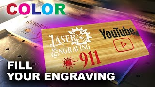 ENGRAVING WITH COLOR😜HOW TO COLOR FILL YOUR ENGRAVING LIKE A BOSS🐱👤
