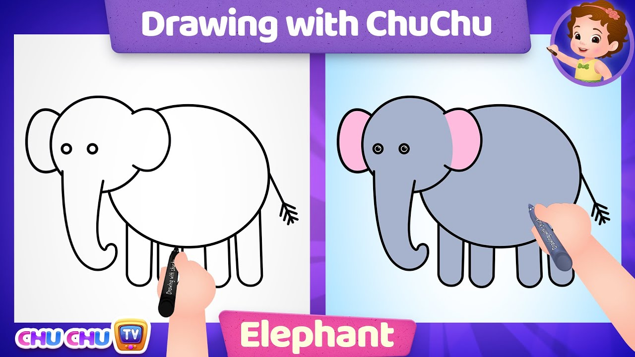 How to Draw an Elephant Step by Step? - Drawing with ChuChu - ChuChu TV Drawing Lessons for Kids