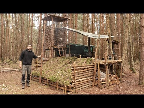 bushcraft-camp---solo-overnight-in-the-super-shelter,-axe,-campfire,-lean-to-shelter