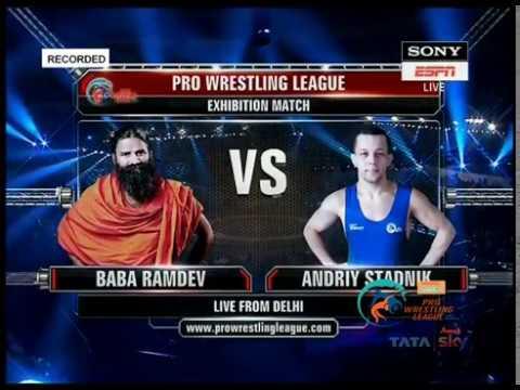 Watch Baba Ramdev Wrestling and beating Olympic Medalist Andriy Stadnik