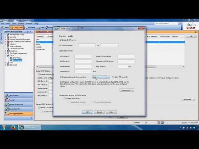 Configuring Cisco ASA ASDM - Static Routes, DHCP Server, NAT, Auto