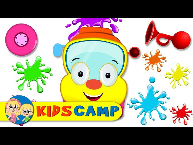 Learn Colors With Wheels On The Bus | BUS PAINTING With Elly And More Nursery Rhymes by KidsCamp