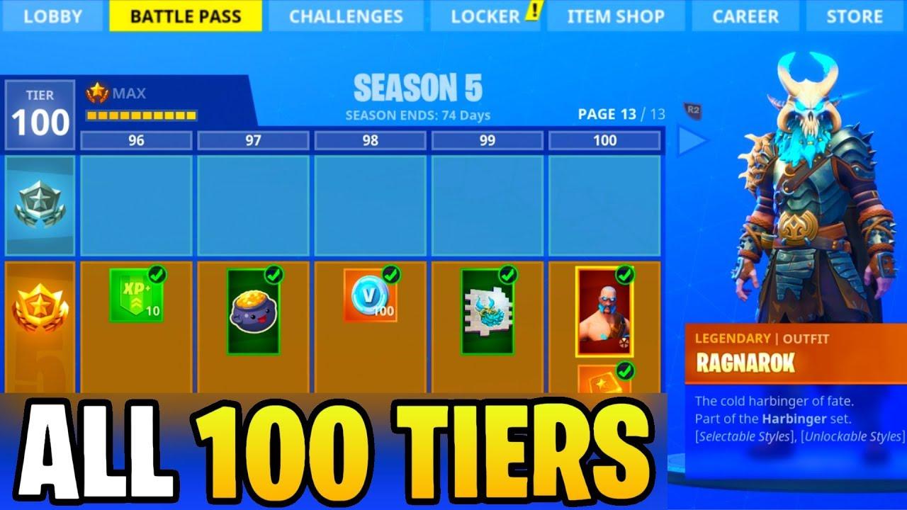 New Season 5 Battle Pass All 100 Tiers Fortnite Battle Royale
