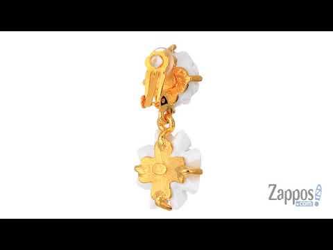 Kenneth Jay Lane Gold and White Carved Resin Flower Dop Clip Earrings SKU: 9050791