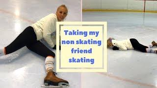 Figure Skater takes Non Skater Friend Figure Skating