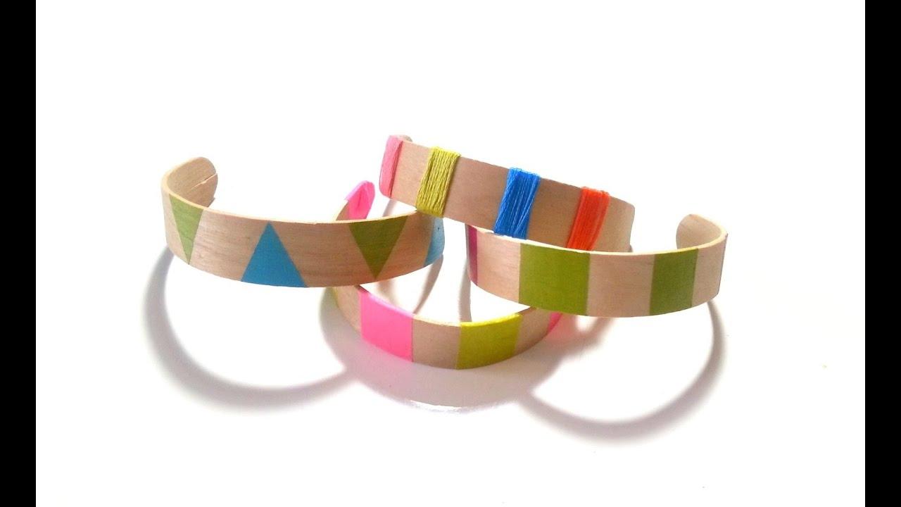 diy fabriquer des bracelets avec b tons de glaces youtube. Black Bedroom Furniture Sets. Home Design Ideas