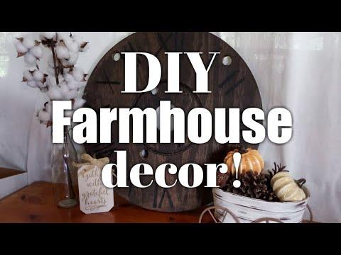 DIY Farmhouse decor / Rustic Wooden spool clock .