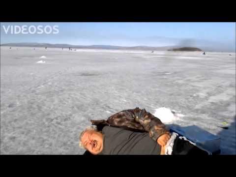 drunk Russian walrus ice fishing (subtitles)