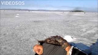 drunk Russian walrus ice fishing (subtitles)