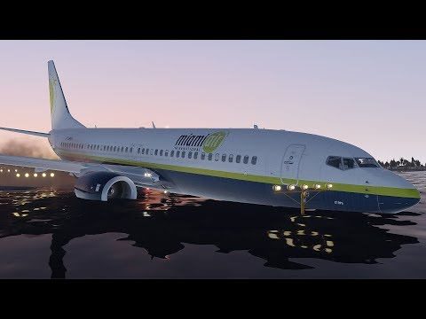 Miami Air Boeing 737 Skids Off Runway Crash Into The River During Landing   X-Plane 11