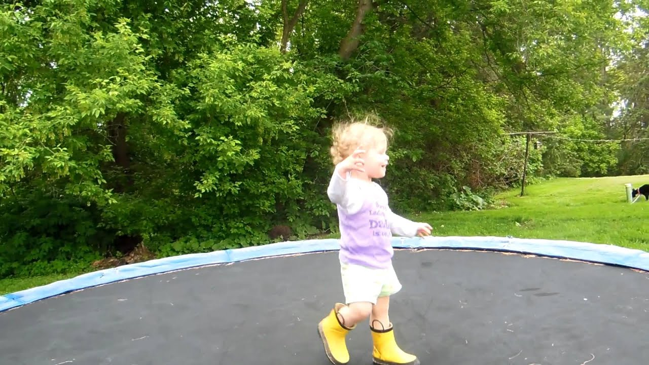 c2a8ed1d6b82 cute baby jumping on trampoline! - YouTube