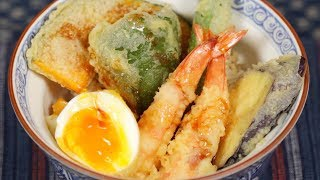 Shrimp Egg Tendon Recipe (Tempura Rice Bowl with Prawns and Vegetables) | Cooking with Dog