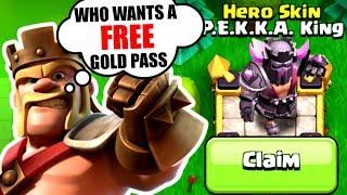 GEMMING The Entire Gold Pass! WHO WANTS A FREE GOLD PASS? NEW P E K K A HERO SKIN!