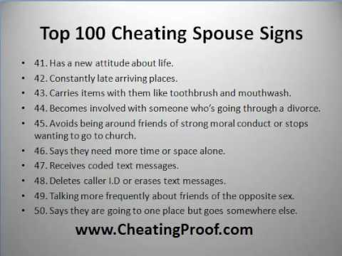 Signs that spouse is cheating