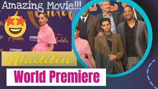 Aladdin purple carpet arrivals with Naomi Scott, Mena Massoud & Will Smith