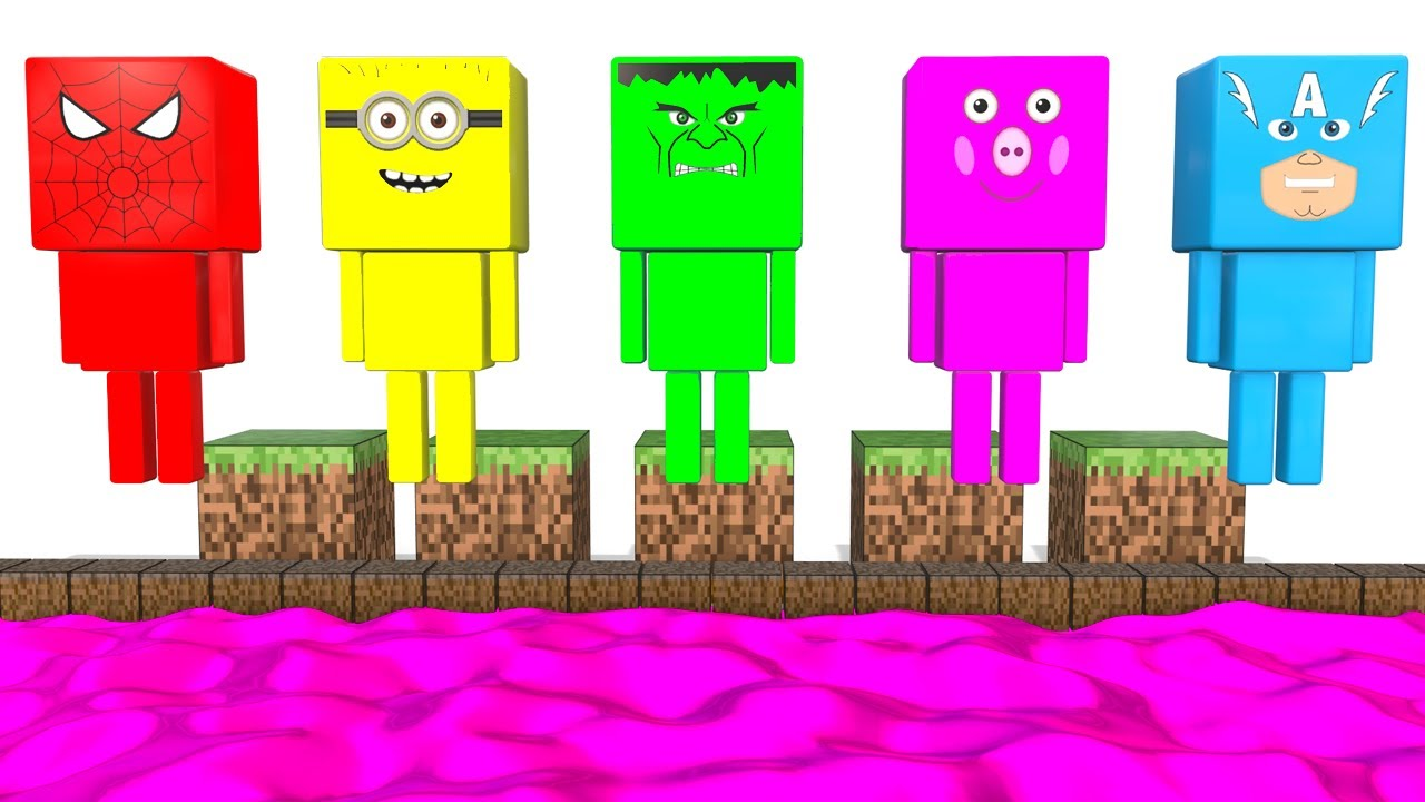 Learn Colors With Minecraft Superheroes For Kids Fun Cars Video Minecraft Colors