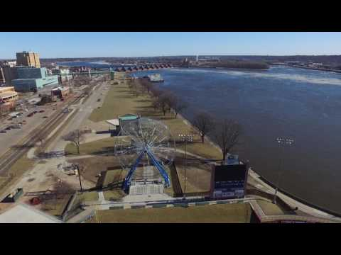 Downtown Davenport Riverfront by drone - Winter 2017