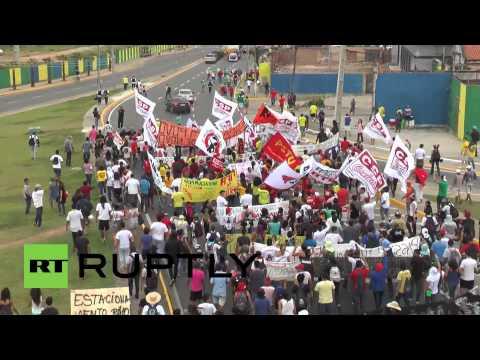 Brazil: Anti-FIFA protesters rally ahead of Brazil Vs. Mexico match