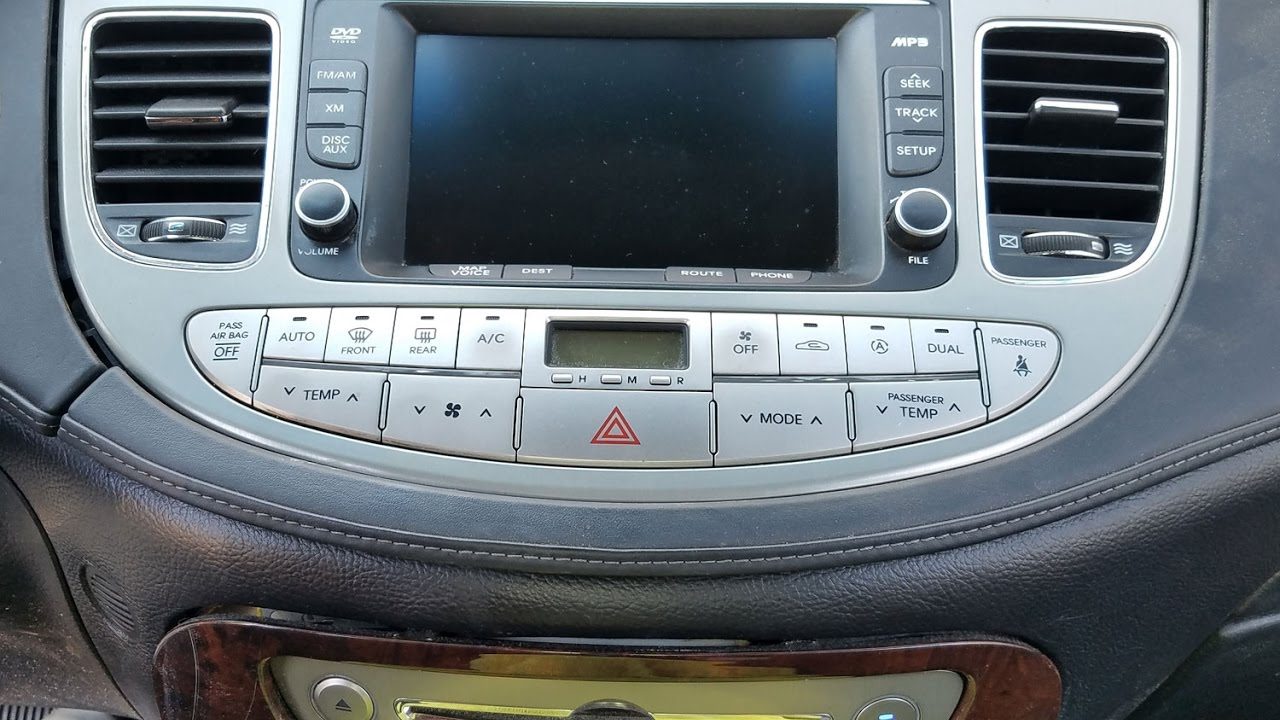 how to remove navigation display touch panel from hyundai genesis 2010 for repair  [ 1280 x 720 Pixel ]