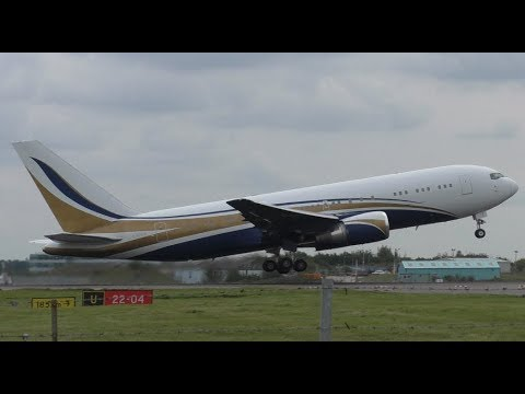 Mid East Jets Boeing 767 Departure at Stansted Airport