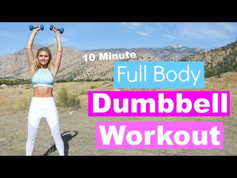 Full Body Dumbbell Workout 10 MINUTE TONE   Rebecca Louise