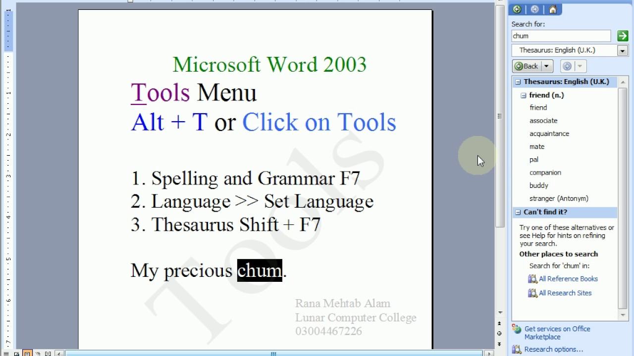 word tools