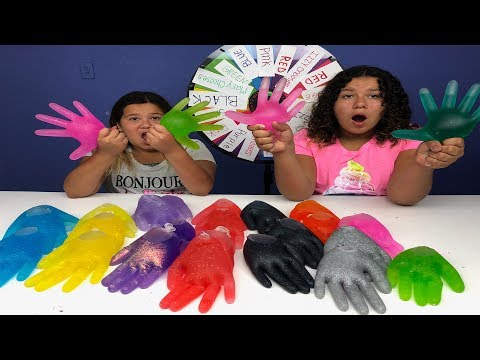 3 COLORS OF GLUE SLIME GLOVES CHALLENGE MYSTERY WHEEL OF SLIME EDITION!