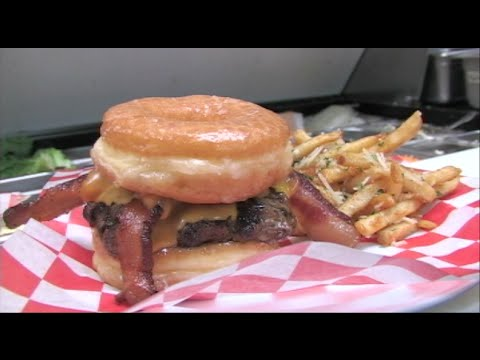 Amazing Donut Burger - Making & Eating Donut Bacon Cheeseburgers!