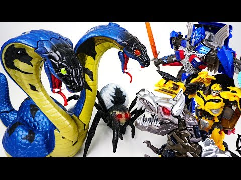 Giant two-headed cobra appeared in ruins! Go! Transformers Optimus Prime, Bumblebee! - DuDuPopTOY