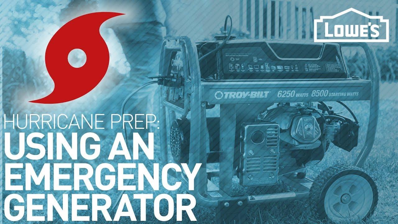 using an emergency generator   hurricane prep
