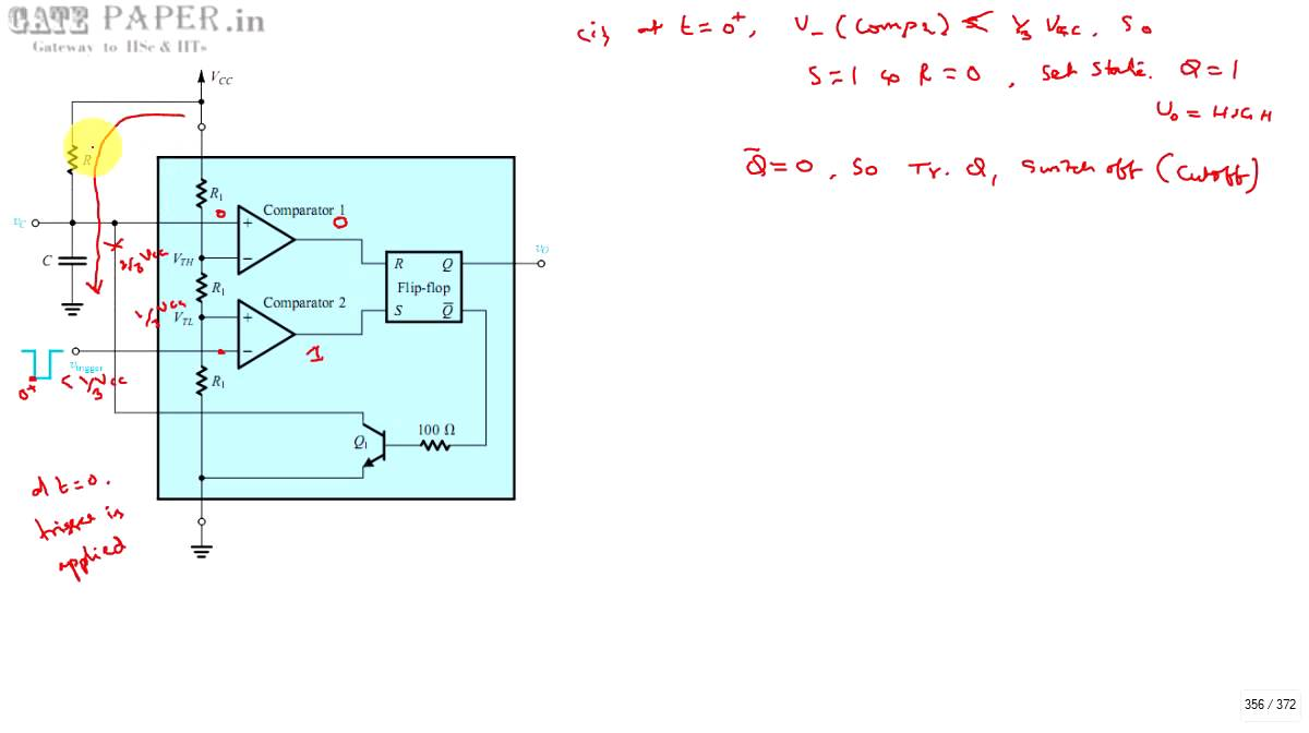 Gate 1998 Ece Operation Of Monostable Multivibrator Using Ic 555 Ne555 Basic Circuit Timer And Derivation For Pulse Widt