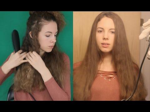 Hair Brushing & Straightening - ASMR - Hair Straightening Brush Review