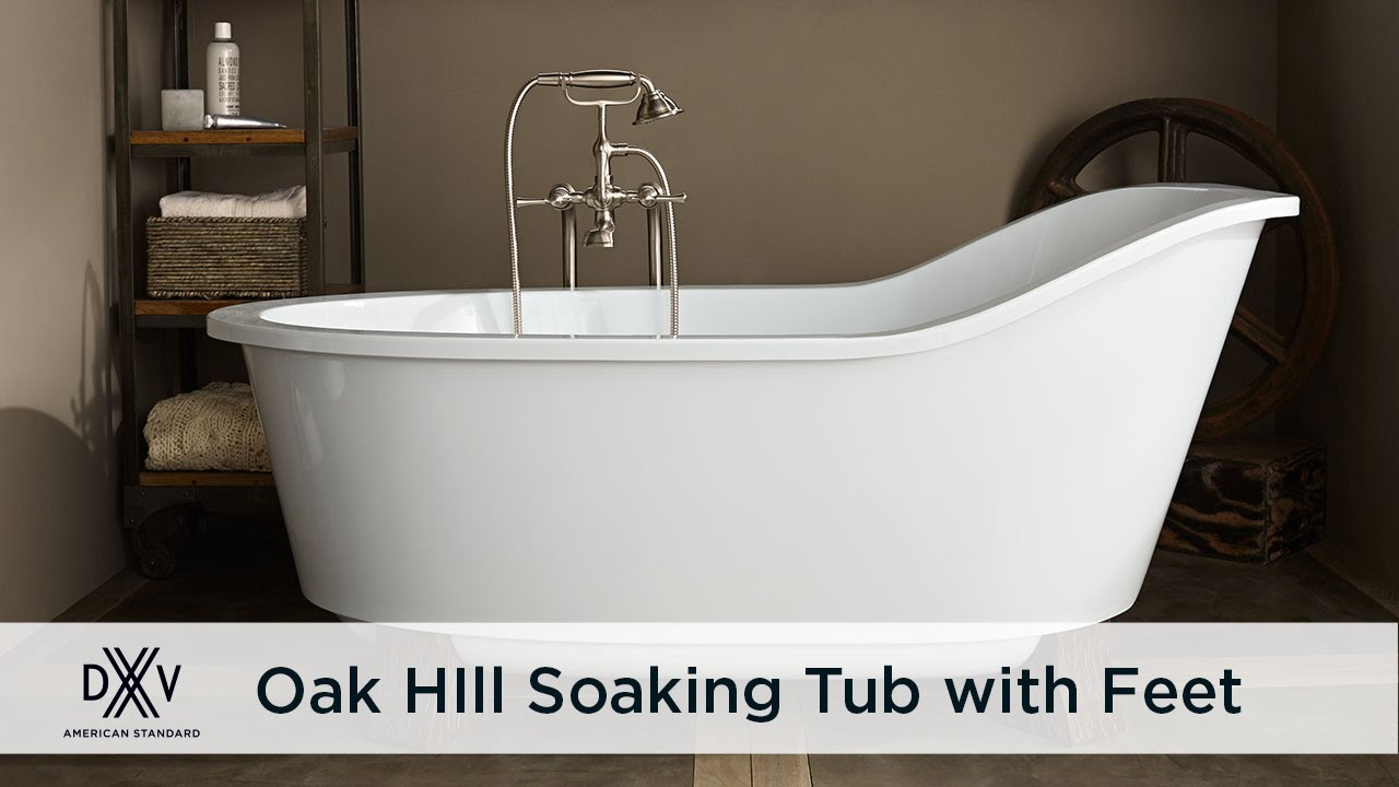 Oak Hill Freestanding Slipper Tub with Wooden Feet by DXV - YouTube