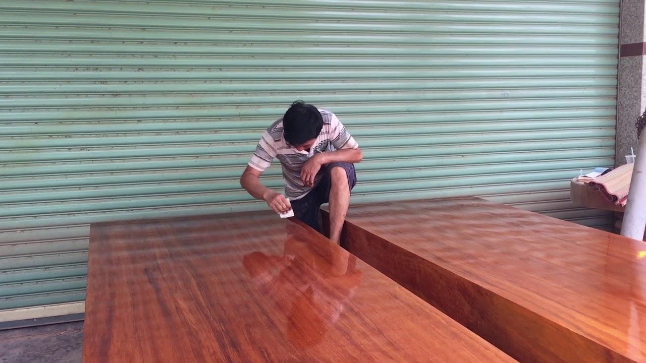 Hướng dẫn Thổi PU Bộ sập gỗ gõ đỏ nguyên khối – Đồ Gỗ Quang Thịnh 0909 879 770