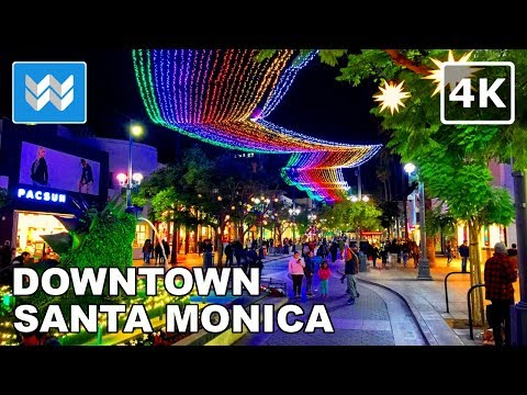 🎄 Christmas Walking Tour from Santa Monica Pier to 3rd Street Promenade | LA 【4K】