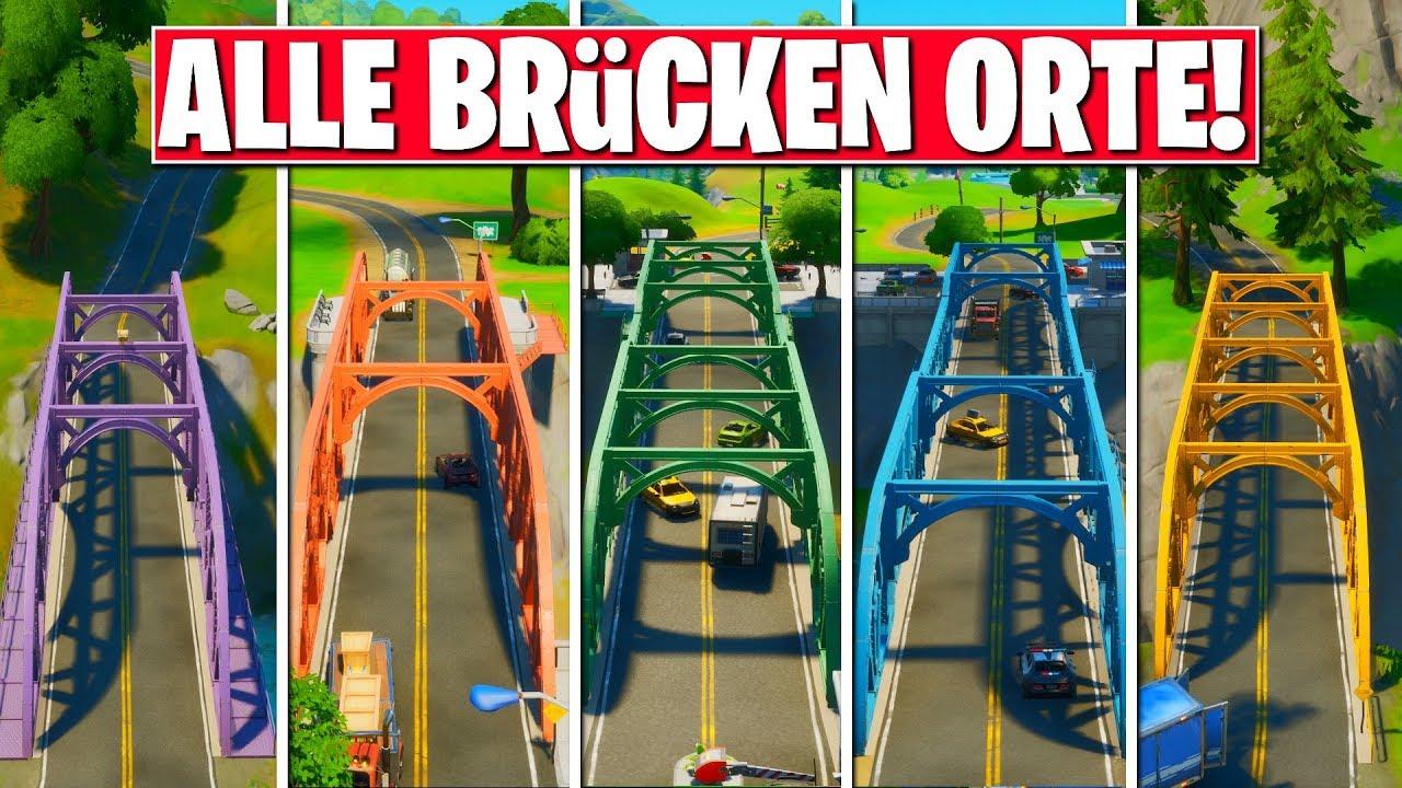 besuche rote gelbe grüne blaue und violette stahlbrücke in fortnite