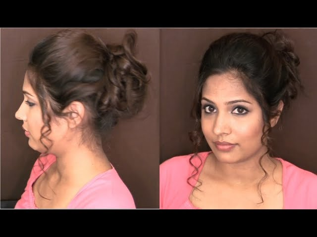 Messy Curly Updo Classy And Sophisticated Hairstyles Indian