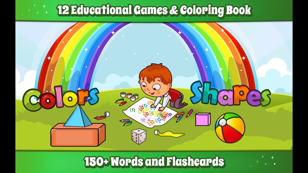 Kids Colors & Shapes Learning game - Kids Coloring book - YouTube