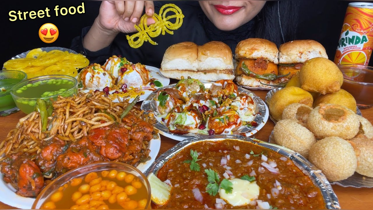 Download ASMR EATING INDIAN STREET FOOD,DAHI PURI,PANIPURI,PAVBAJI,DAHIBALLA,CHOWMEIN,MANCHURIAN*FOOD VIDEOS*