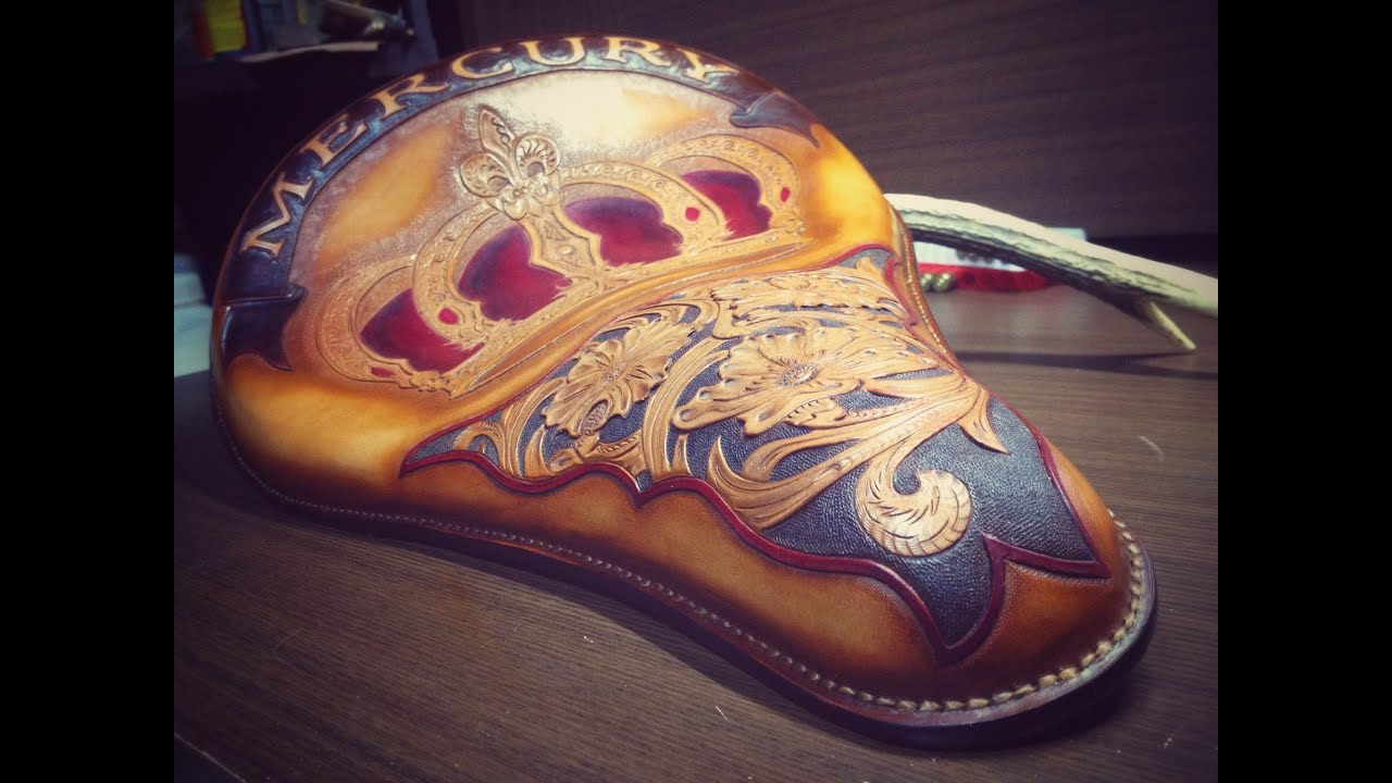 【leather Craft 】motorcycle Seat Part 5 Doovi