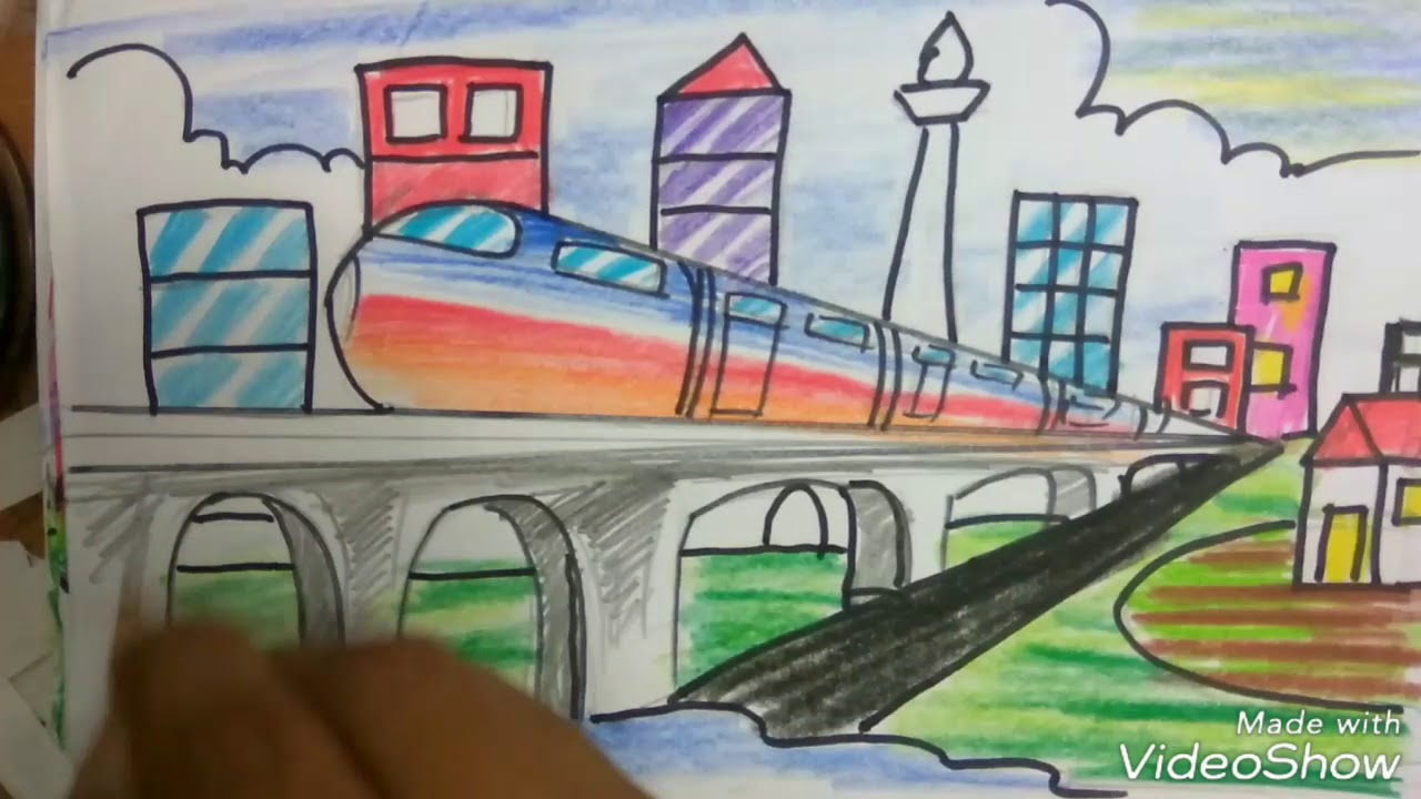 MRT Cara Menggambar KERETA MRT Dan Monas