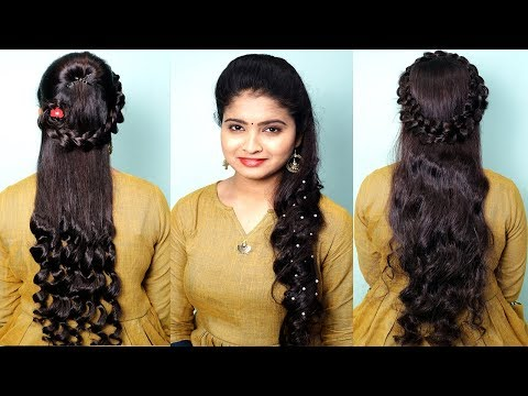Beautiful Party Hairstyles for open hair | Easy Hairstyle for long hair girls | Curly hairstyles thumbnail