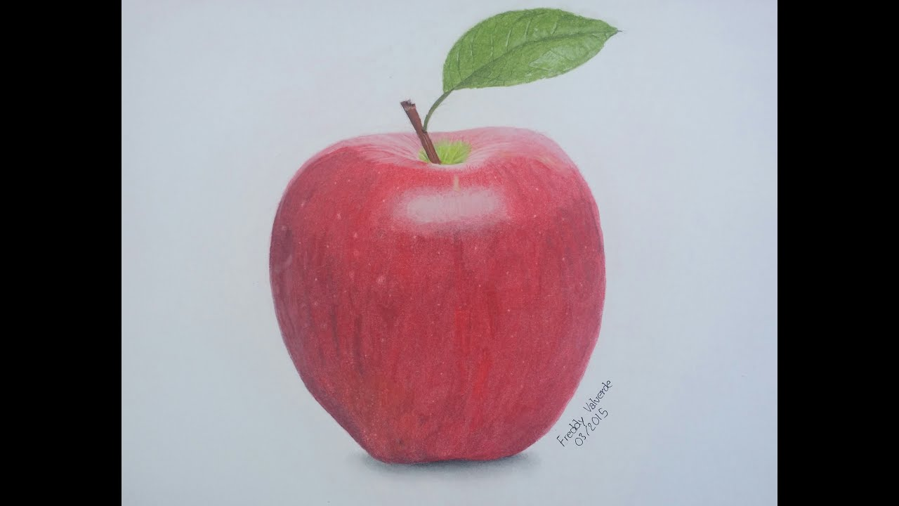 How To Draw An Apple With Color Pencil