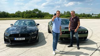 Duell der Doppel-Whopper - Dodge Challenger SRT Hellcat Redeye, Ford Mustang Shelby GT 500 I GRIP