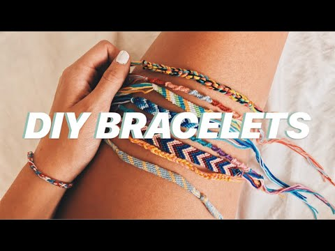 Making bracelets with thread and beads